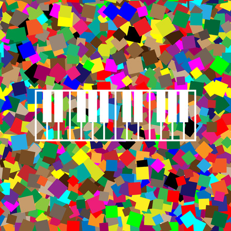 Piano Keyboard sign. Vector. White icon on colorful background