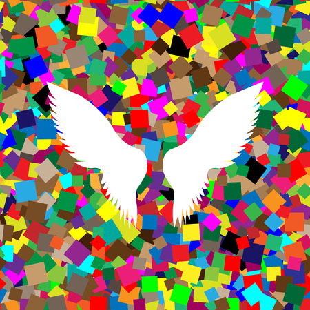 Wings sign illustration Vector.  White icon on colorful background