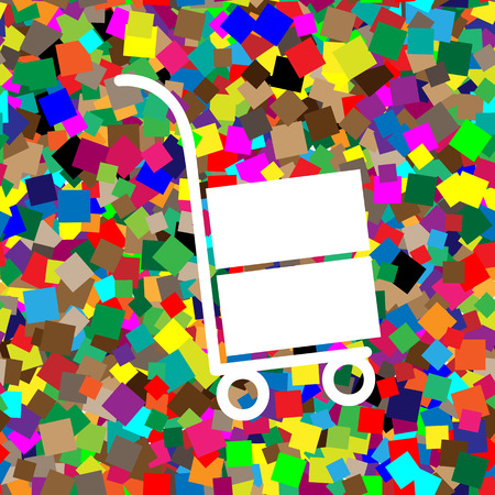 Hand truck sign. Vector. White icon on colorful background with