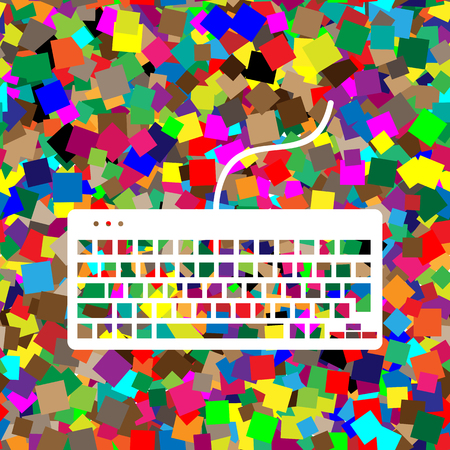 Keyboard simple sign. Vector. White icon on colorful background with seamless pattern from squares.