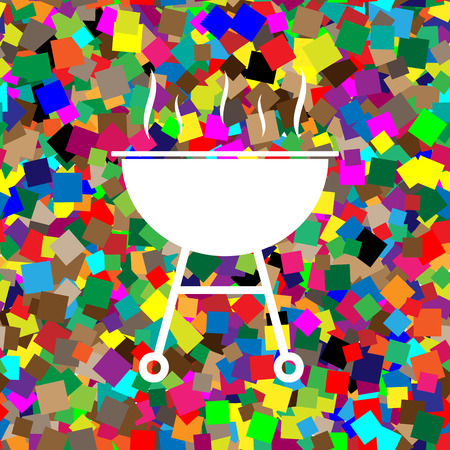 Barbecue simple sign. Vector. White icon on colorful background with seamless pattern from squares. Illustration