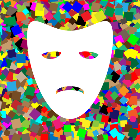 Tragedy theatrical masks. Vector. White icon on colorful backgro