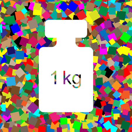 Weight simple sign. Vector. White icon on colorful background wi