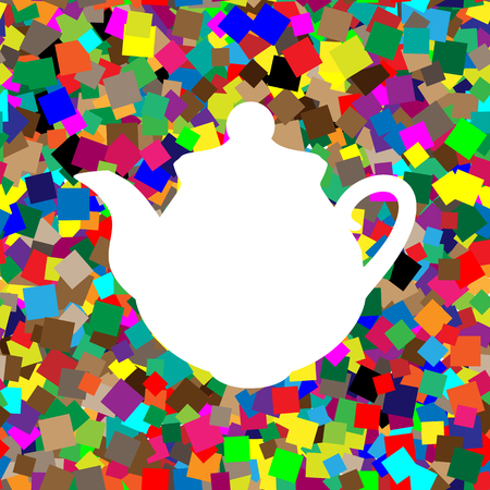 Tea maker Kitchen sign. Vector. White icon on colorful backgroun  イラスト・ベクター素材