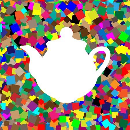 Tea maker Kitchen sign. Vector. White icon on colorful backgroun Illustration