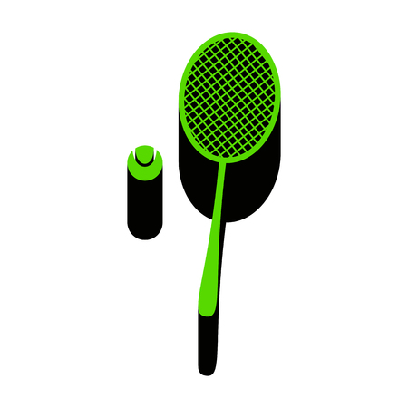 Tennis racquet with ball sign.   Green 3d icon with black lines. Vector illustration. Banco de Imagens - 97988164