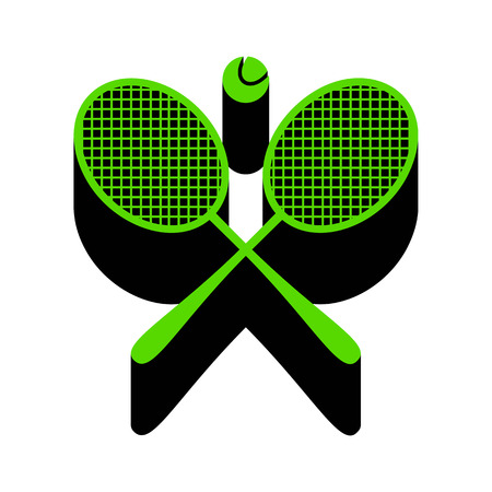 Two tennis racket with ball sign Green icon with black sides
