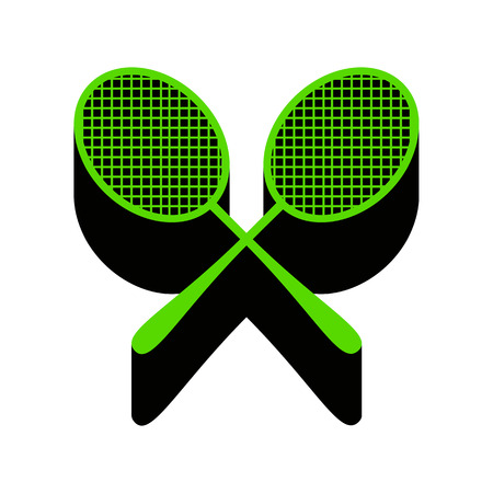 Two tennis racket sign. Vector. Green 3d icon with shadow