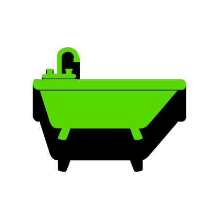 Bathtub sign illustration Vector Green icon with black side Banco de Imagens - 98369734