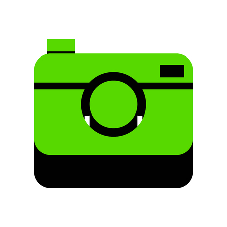 Digital photo camera sign. Vector. Green 3d icon on white background