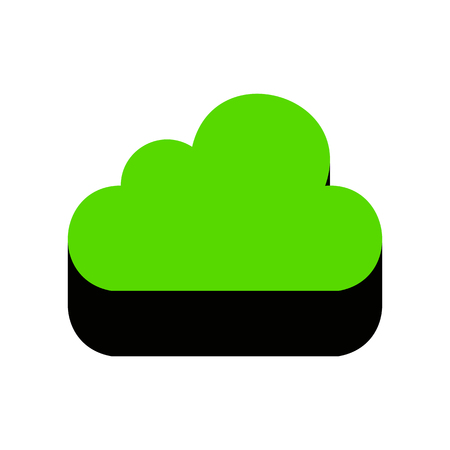 Cloud sign illustration Green icon with black side