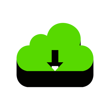 Cloud technology sign. Vector. Green 3d icon