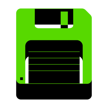 Floppy disk sign. Vector. Green 3d icon