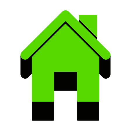 Home silhouette illustration Green icon with black sides
