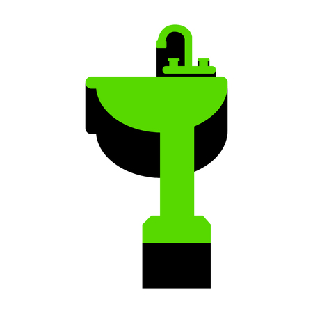 Bathroom sink sign Green icon with black sides