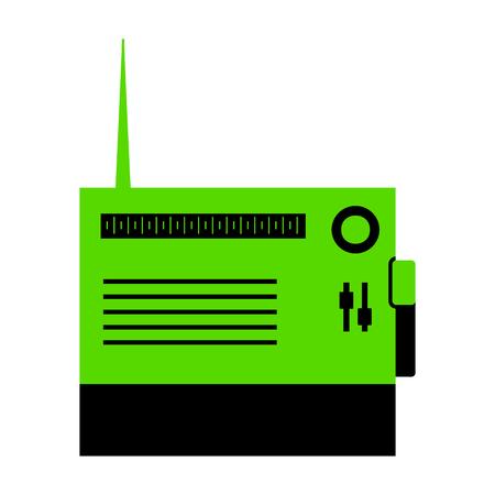 Radio sign illustration.   Green 3d icon with black side Vector illustration.