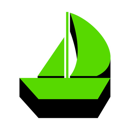 Sail Boat sign.   Green 3d icon with black side Vector illustration.
