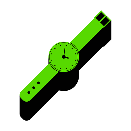 Watch sign illustration Green icon with black sides Illustration