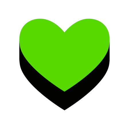 Heart sign Green icon with black sides Stock Illustratie