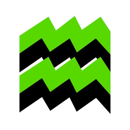 물병 자리 기호 그림 검은면을 가진 녹색 아이콘 일러스트