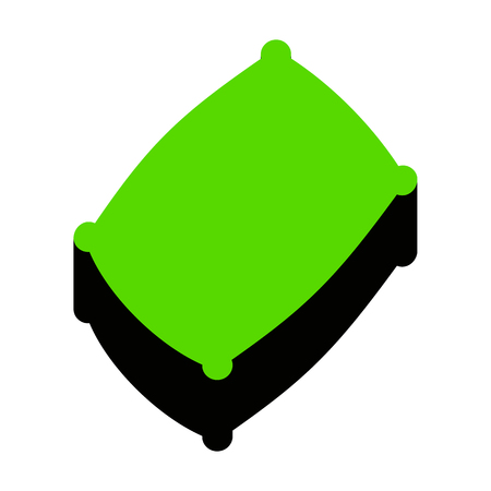 Pillow sign illustration. Vector. Green 3d icon