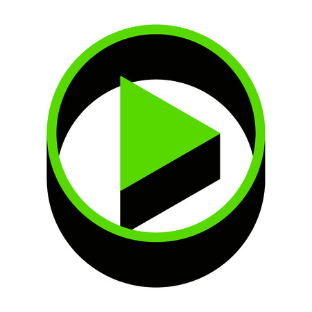 Play sign illustration Green icon with black sides
