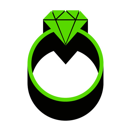 Diamond sign illustration. Vector. Green 3d icon