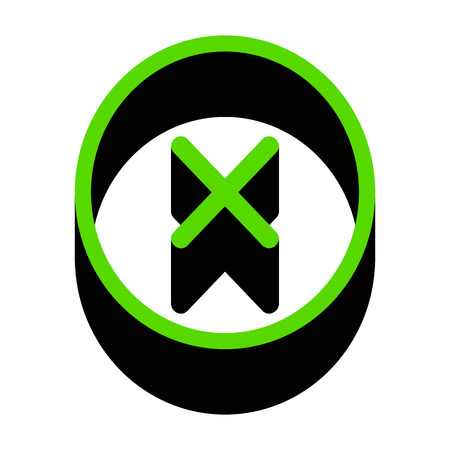 Cross sign illustration. Vector. Green 3d icon Illustration
