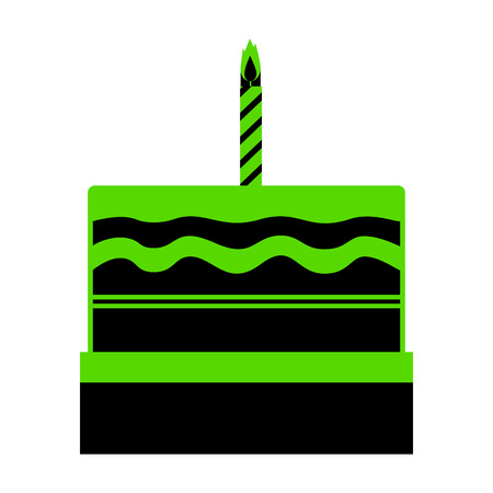 Birthday cake sign.  Green 3d icon