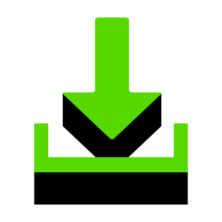 Download sign illustration Green icon with black sides