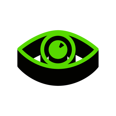 Eye sign illustration Green icon with black sides