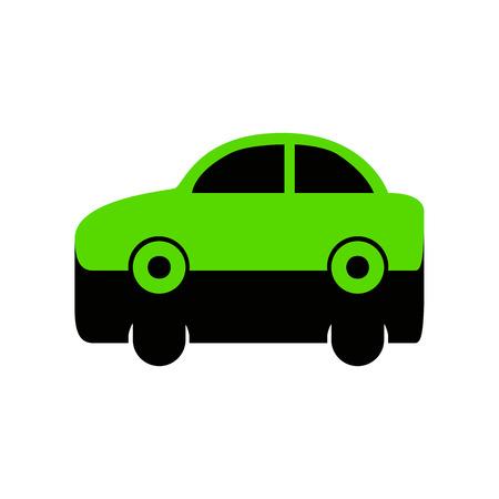 Car sign illustration Green icon with black sides Illustration