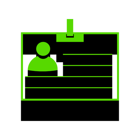 Id card sign Green icon with black sides