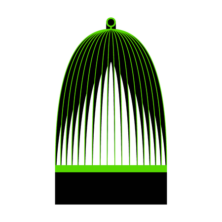 Bird cage sign.  Green 3d icon with black side on white background. Isolated Vector illustration.