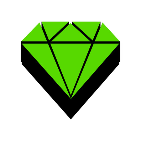 Diamond sign illustration Green icon with black sides