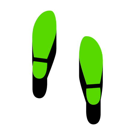 Imprint soles shoes sign Green icon with black sides