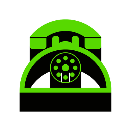 Retro telephone sign Green icon with black sides Illustration