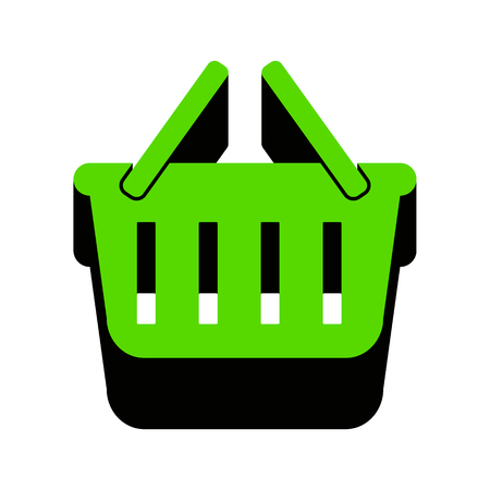 Shopping basket sign Green icon with black sides