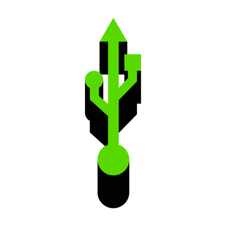 USB sign illustration Green icon with black sides
