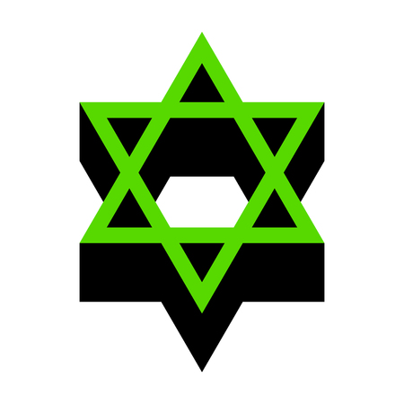 Shield Magen David Star. Symbol of Israel.   Green 3d icon with black side on white background. Isolated Vector illustration. Illustration