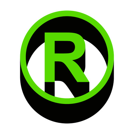 Registered Trademark sign Green icon with black sides
