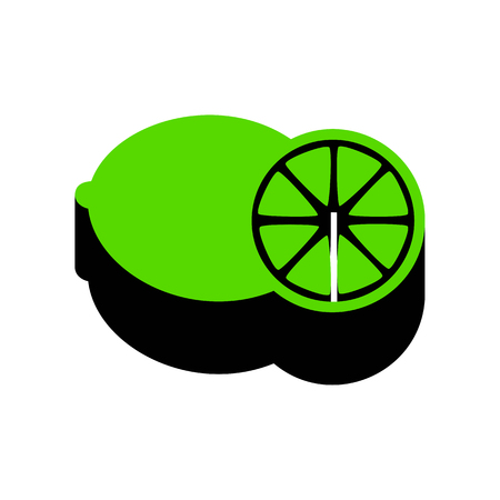 Fruits lemon sign Green icon with black sides Stock Illustratie