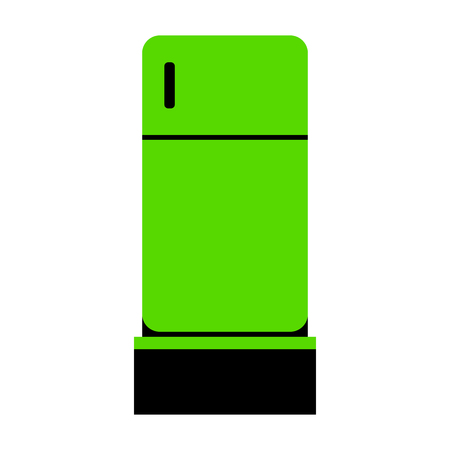 Refrigerator sign illustration Green icon with black sides