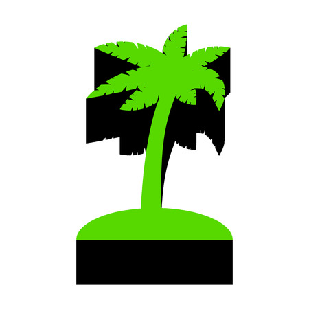 Palm tree sign Green icon with black sides