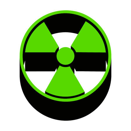Radiation round sign green 3d icon. Illustration