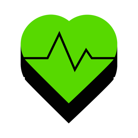 Heartbeat sign illustration.   Green 3d icon with black side on white background. Isolated Vector illustration.