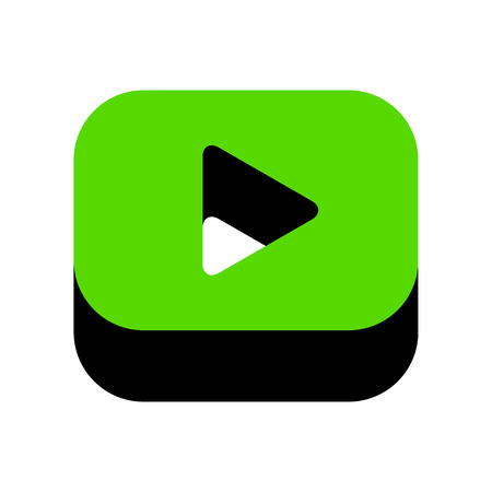 Play button sign Green icon with black sides