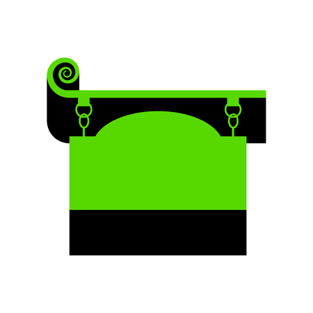 Wrought iron sign for old-fashioned design. Vector. Green 3d icon with black side on white background.