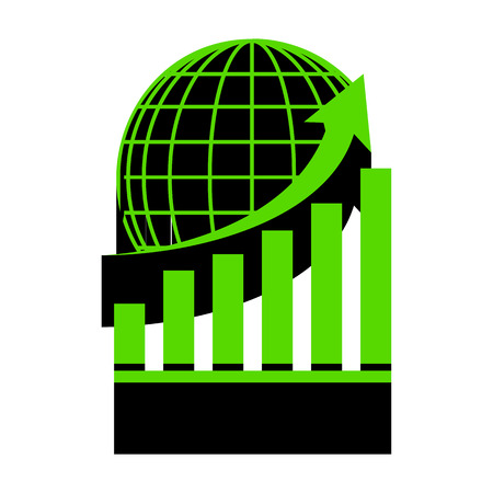 Growing graph with earth. Vector. Green 3d icon with black side on white background.