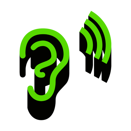 Human anatomy. Ear sign with soundwave.   Green 3d icon with black side on white background. Isolated Vector illustration.